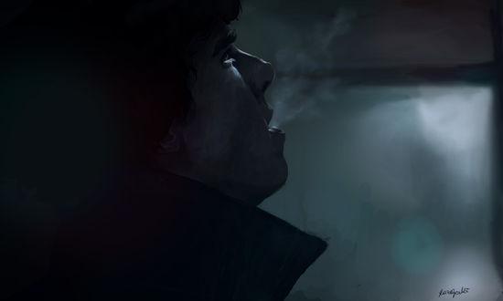 Обои Бенедикт Камбербэтч / Benedict Cumberbatch в роли Шерлока Холмса / Sherlock Holmes из телесериала Шерлок / Sherlock, by RazSketch