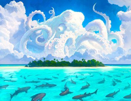 Обои Рыбы в воде и огромный осьминог в небе