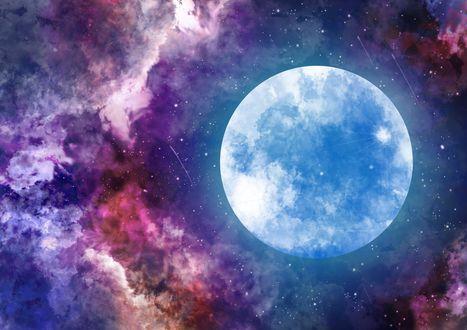 Обои Полная луна в облачном небе