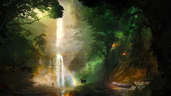 Обои Олени у водопада в лесу, by t1na