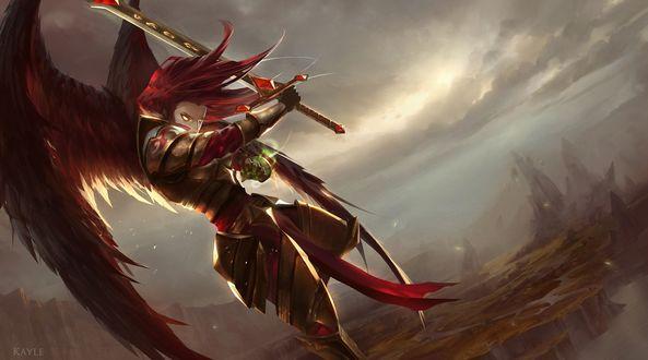 Обои Крылатый рыцарь в доспехах с мечем парит на фоне пасмурного неба из игры Лига Легенд / League of Legends, by Cabalfan