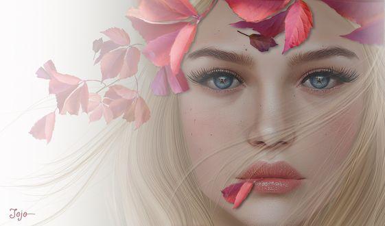 Обои Красивая голубоглазая девушка с осеннем листочком во рту, by Jojo