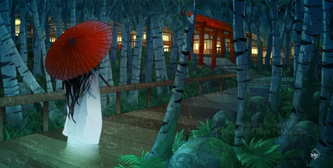 Обои Японская девушка в белых одеждах, с красным зонтом, идет по дорожке, среди берез, под дождем, by Miss-Pannacotta