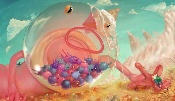 Обои Страж Призовой Автомат / Prize Ball Guardian и Финн / Finn из мультсериала Время Приключений / Adventure Time, by DesignSlashMotion