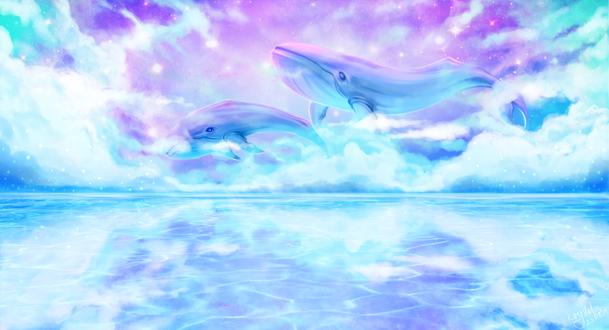 Обои Небесные киты над водой, by Kryhelis