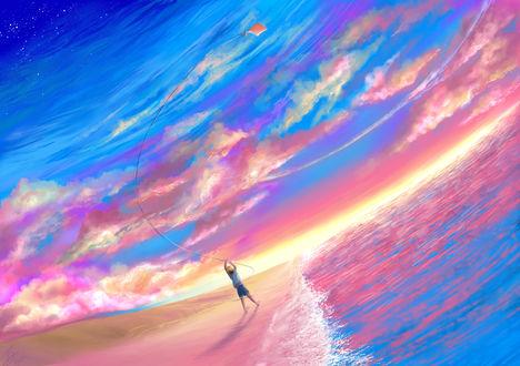 Обои Мальчик запускающий змея на воне моря стоя на песке, by tish92