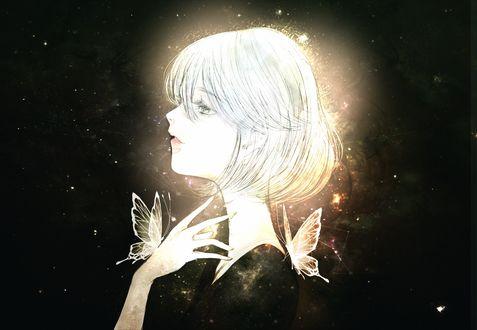 Обои Белокурая девушка и золотые бабочки, by kuroe