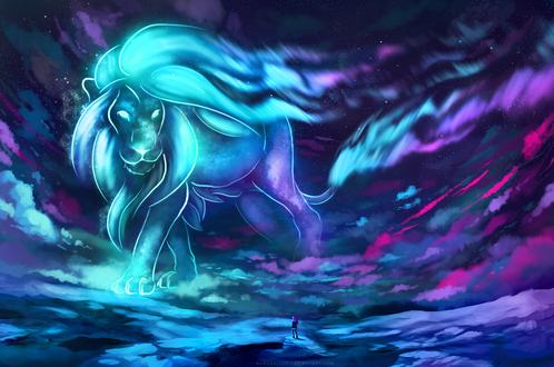 Обои Девушка на фоне небесного льва, by AuroraLion