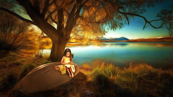 Обои Девочка сидит на старой лодке возле озера