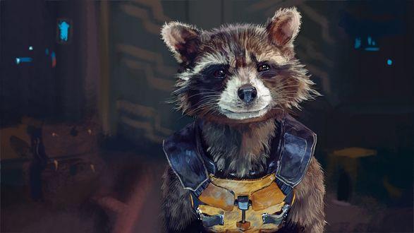 Обои Енот Ракета на корабле, фильм Стражи галактики / Guardians of the Galaxy