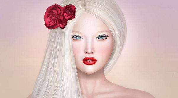 Обои Блондинка с розами в волосах