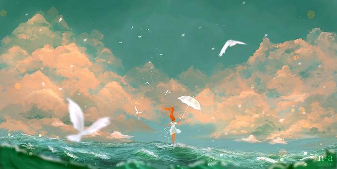 Обои Девушка в белом платье, с зонтом в руке, стоит на воде, над которой летают чайки, by Nicole Altenhoff
