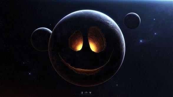 Обои Планета в виде хэллоуинского смайла, автор GabrielGajdos
