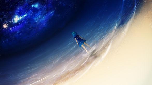 Обои для рабочего стола Девушка на берегу моря смотрит на звезды, автор Y Y (© Amaryllis),Добавлено: 26.07.2017 10:57:02
