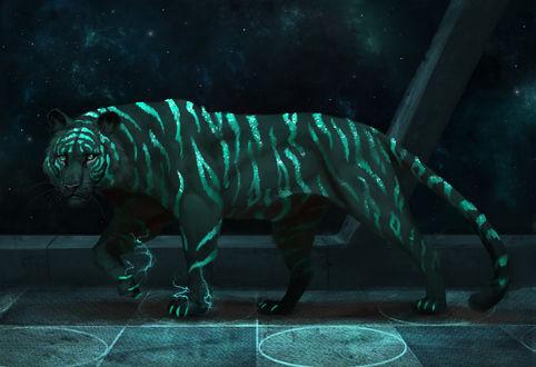 Обои Тигр на космическом корабле, by JadeMere