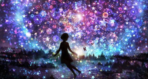 Обои Силуэт девушки с бабочкой над рукой на фоне звездного неба