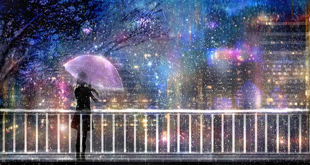 Обои Девушка с зонтом стоит на фоне города