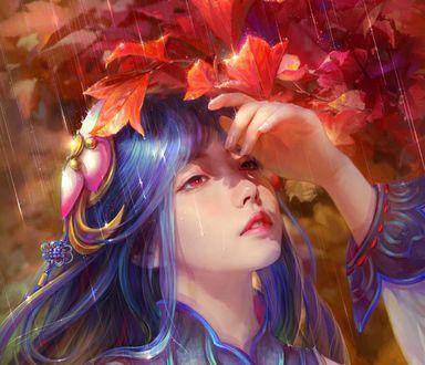 Обои Девушка с голубыми волосами у листвы под дождем, by cao yuwen