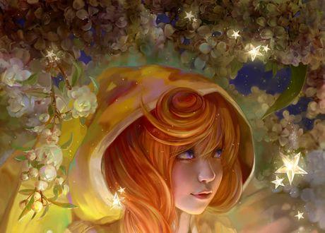 Обои Девушка с рыжими волосами в капюшоне стоит у цветов, by cao yuwen