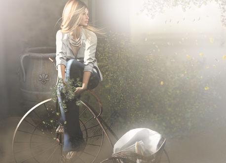 Обои Девушка сидит на велосипеде, by hfpJojo Deed