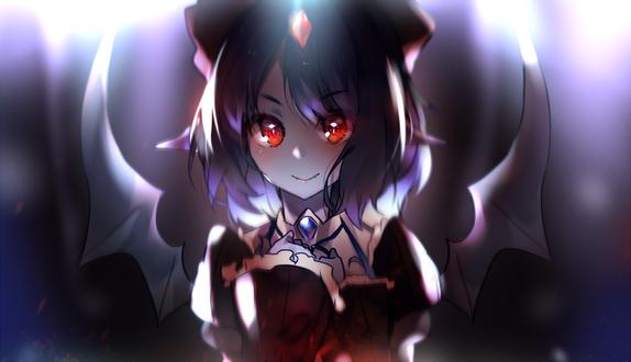 Обои Крылатая девушка с алыми глазами, by AoiKen