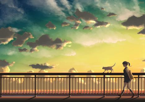 Обои Девушка шагает около ограды, по которой идет кошка