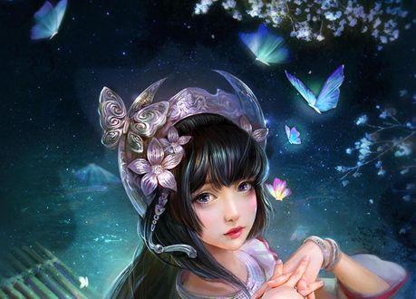 Обои Девушка с украшением на голове и голубыми бабочками над ней, by cao yuwen