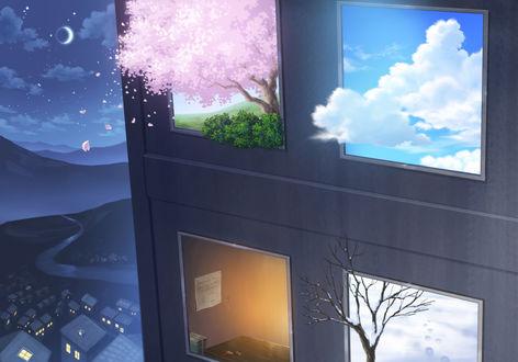 Обои В окнах дома видны четыре сезона:весна, лето, осень и зима, by whyto