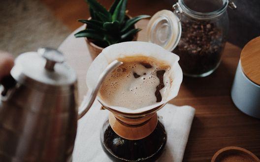 Обои Чашка кофе с пенкой на столе, рядом банка с кофе в зернах и кактус