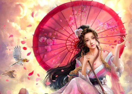 Обои Девушка с цветами на голове и красным зонтом в руке сидит на облаках, by cao yuwen