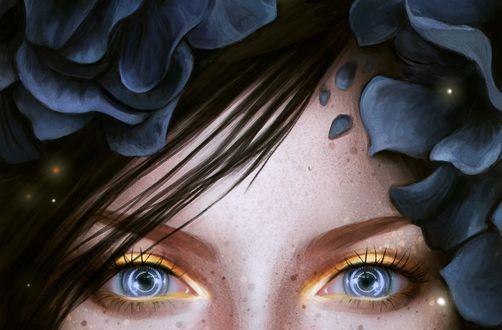 Обои Голубые глаза девушки с цветами на волосах, by z-a-i-n-a
