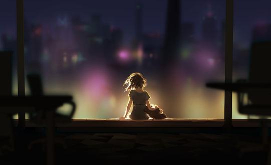 Обои Девочка с игрушечным мишкой сидит на фоне ночного города, by MaGLIL