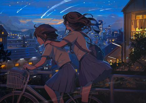 Обои Две школьницы катаются на велосипеде, любуясь звездопадом над городом, art by pine (yellowpine112)