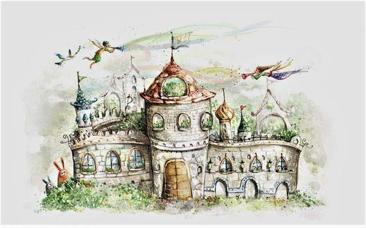 Обои Белый сказочный замок с ангелами, птицей и кроликами