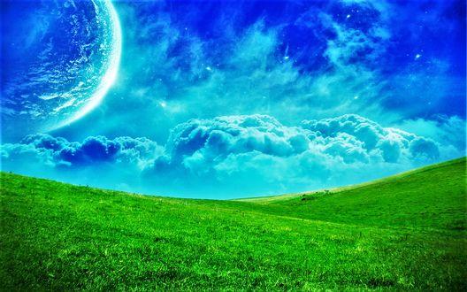 Обои Голубое небо с огромной планетой над зелеными лугами