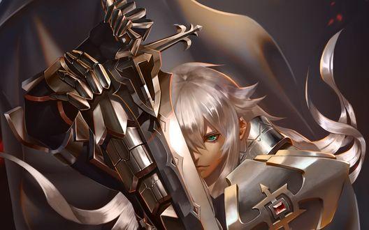 Обои для рабочего стола Jeann в доспехах с мечом из онлайн RPG игры Fate Apocrypha / Fate Grand Order (© Romi),Добавлено: 29.07.2017 09:22:59
