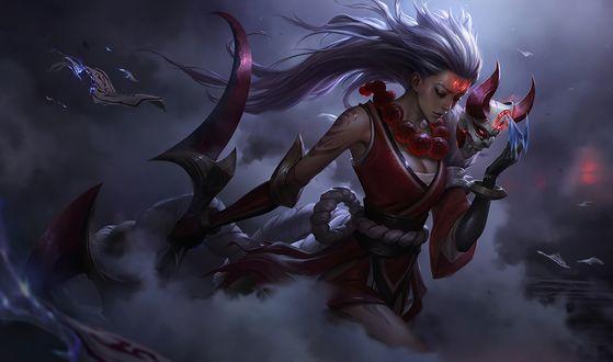 Обои Diana с маской и магическим оружием на фоне пасмурного неба из игры Лига Легенд / League of Legends, by Cabalfan