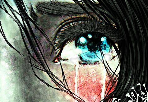 Обои Плачущий глаз девушки, by M-K-1