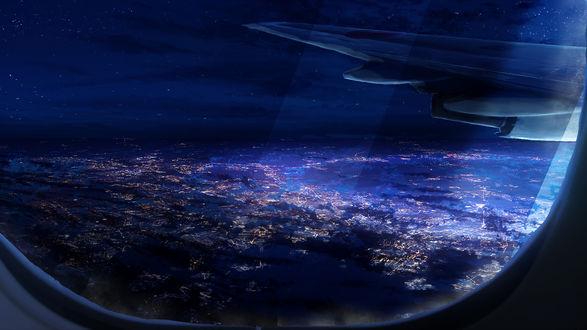Обои Ночной вид из окна самолета, by Y_Y