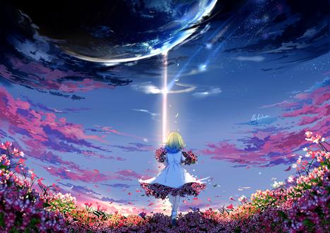 Обои Девушка со светло-зелеными волосами, в бело-голубом платье, с охапками цветов в руках и цветами под юбкой идет по цветочной поляне, на фоне неба с яркой вспышкой, в котором вида огромная планета Земля, by lluluchwan