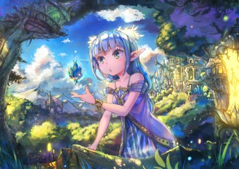 Обои Девушка-эльфийка на фоне леса, by Nattorin