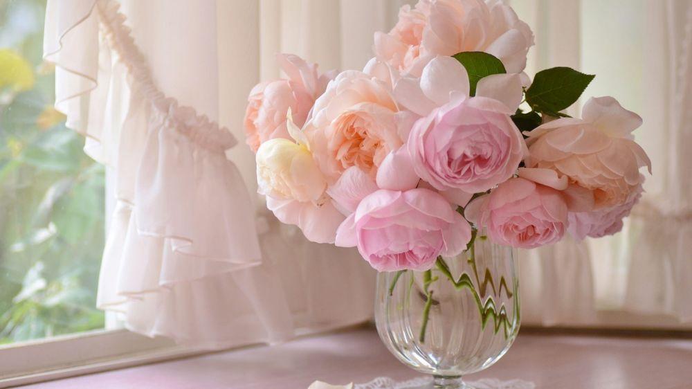 Обои для рабочего стола Букет нежно-розовых ранункулюсов в вазе на подоконнике