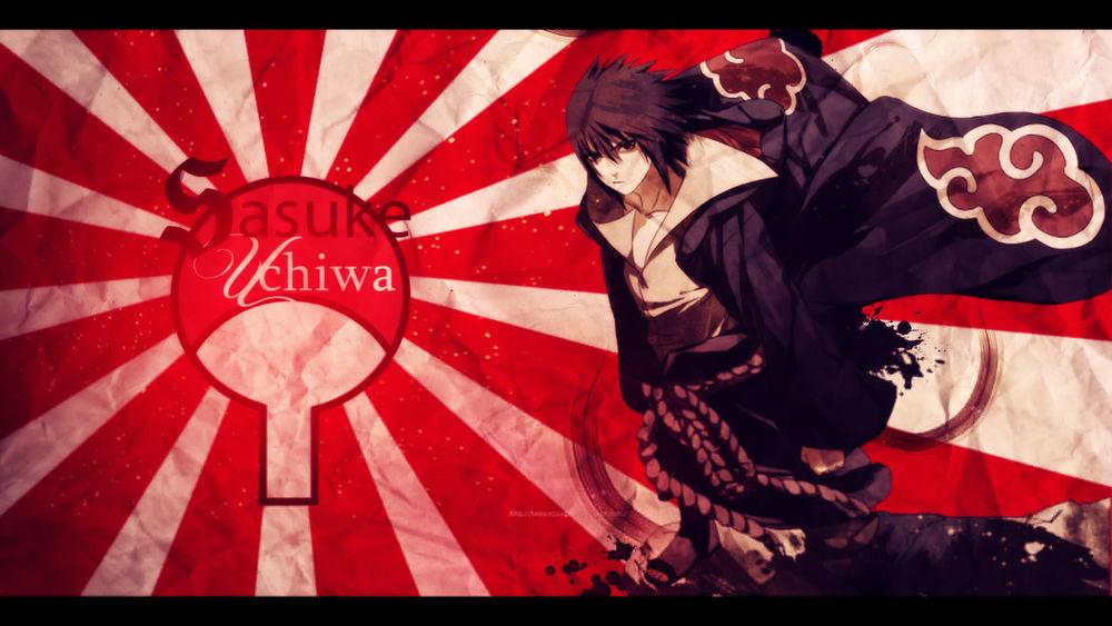 Обои для рабочего стола Uchiha Sasuke / Учиха Саске в плаще Akatsuki на фоне японского флага с эмблемой клана из аниме Naruto / Наруто