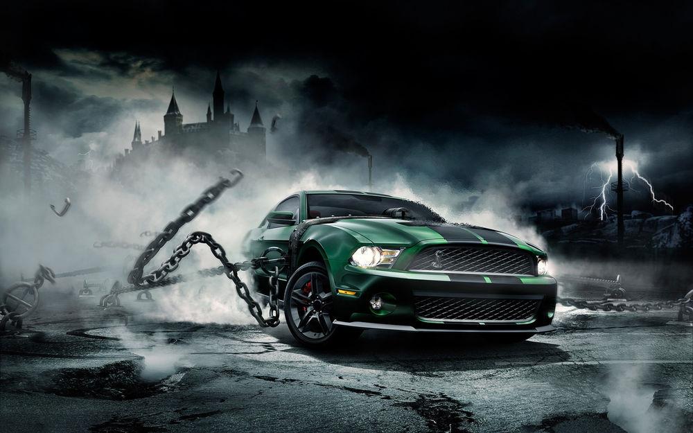 Обои для рабочего стола Ford Mustang темно-зеленого цвета рвет цепи на фоне старого замка