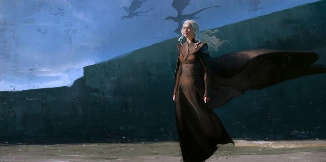 Обои Daenerys Targaryen / Дэйнерис Таргариен из телесериала Игра престолов / Game of Thrones стоит на фоне природы, by anndr