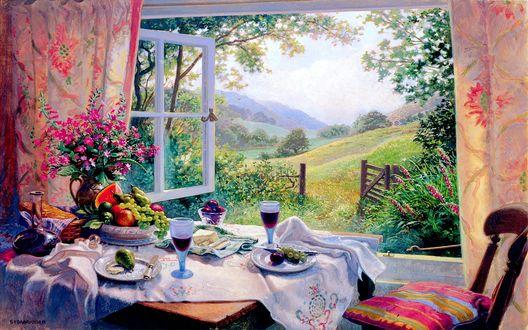 Обои Накрытый стол на двоих с букетом у распахнутого окна, с видом на зеленый луг и холмы