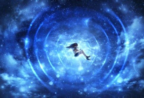 Обои Школьница лежит в воде, в которой отражается ночное звездное небо, by CZY