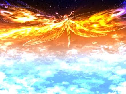 Обои Стрекоза, символизирующая закат над облаками, by saya