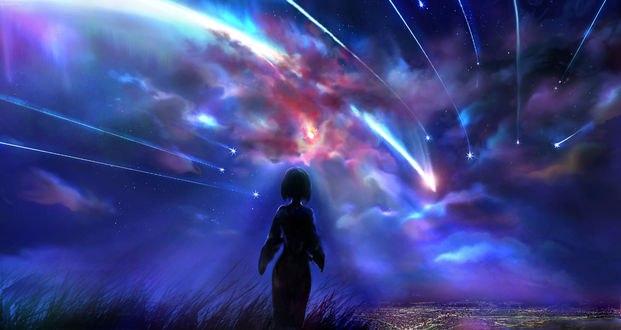 Обои Мицуха Миямизу / Mitsuha Miyamizu из аниме Твое имя / Kimi no Na wa на фоне ночного неба и падающих звезд