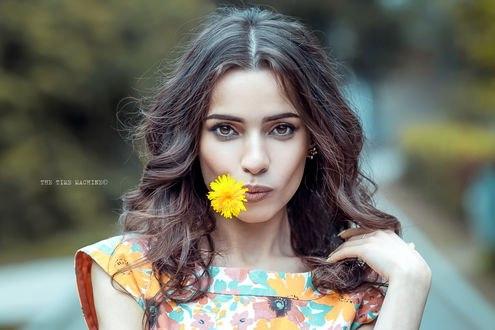 Обои Красивая девушка Наира с одуванчиком во рту, фотограф Шестаков Михаил (The time machine / Машина времени)